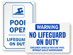 No Lifeguard on Duty Signs