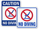 No Diving Pool Signs
