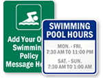 Custom Swimming Pool Signs