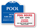 Pool Hours Signs