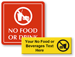 Custom No Food or Drink Signs