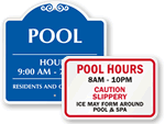 Custom Pool Hours Signs