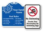 Custom Swimming Pool Signs