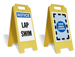 Portable swim counter clockwise lap lane sign