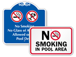 No Smoking in Pool Area Signs