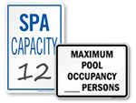 Pool & Spa Capacity Signs