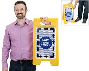 Portable swim counter clockwise lap lane sign