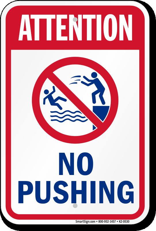 No Running No Pushing No Roughhousing Signs