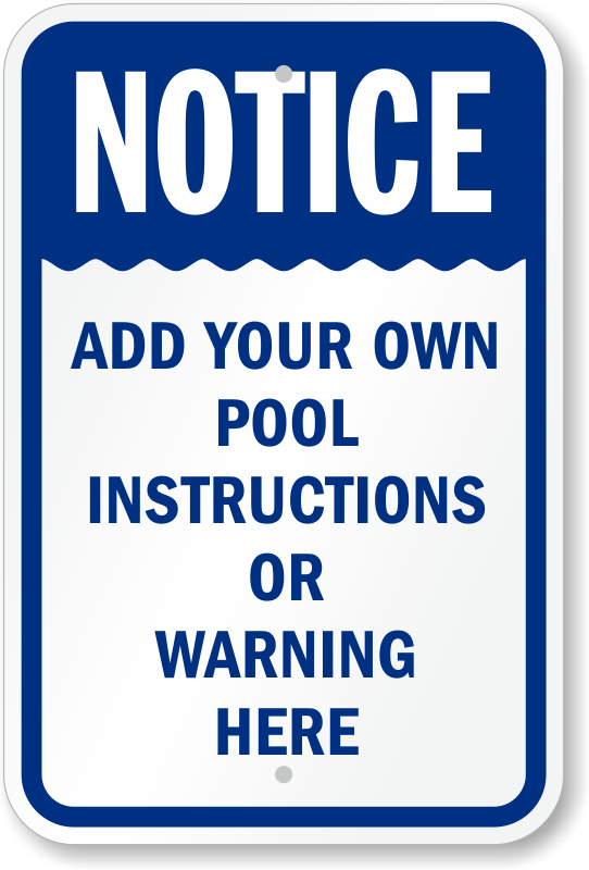 Custom Swimming Pool Signs | Free Shipping Available