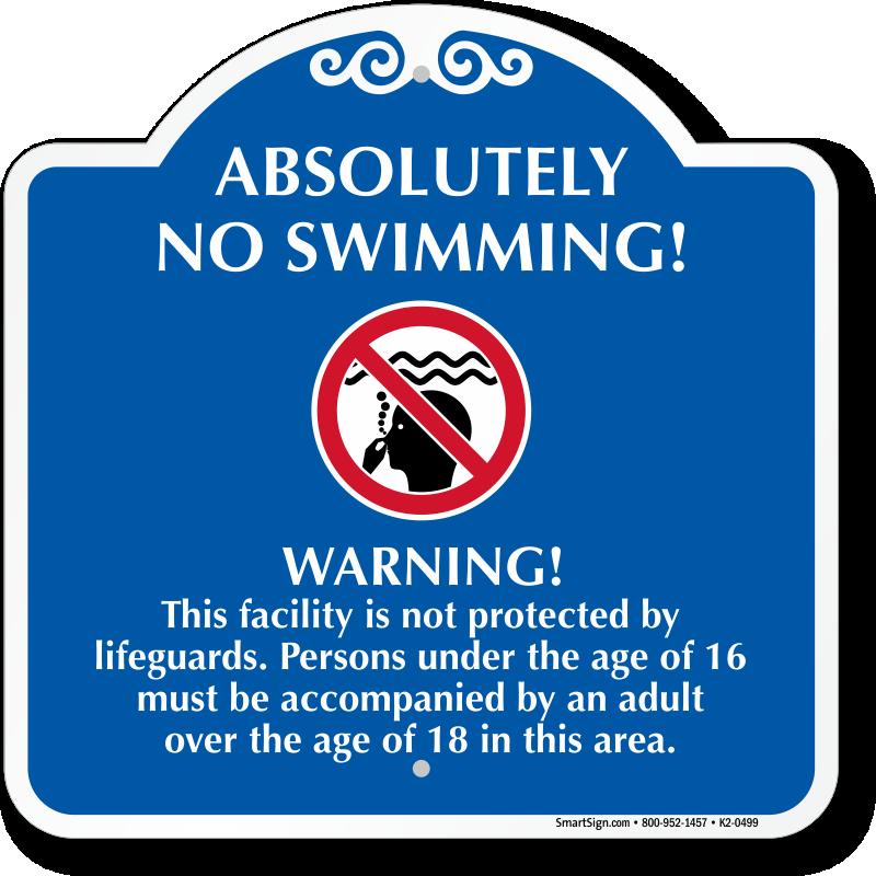 No Swimming Pool : No swimming signature warning sign sku k
