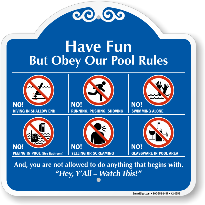Fitness Center Rules Aluminum Sign Square Shape Free: Obey Our Pool Rules Sign, SKU: K2-0359