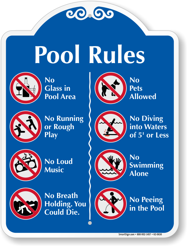 Rules symbol - Swimming pool rules and regulations signs ...