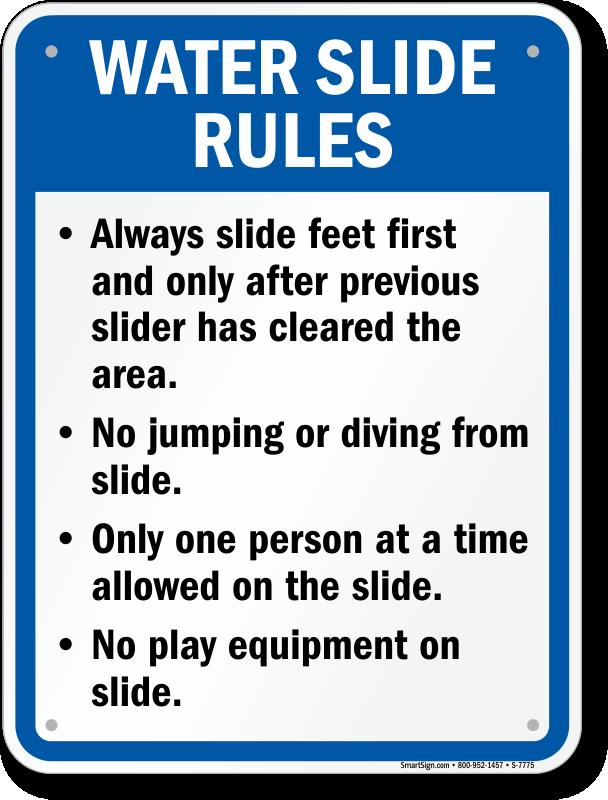Water Slide Rules Sign For Arkansas Sku S 7775