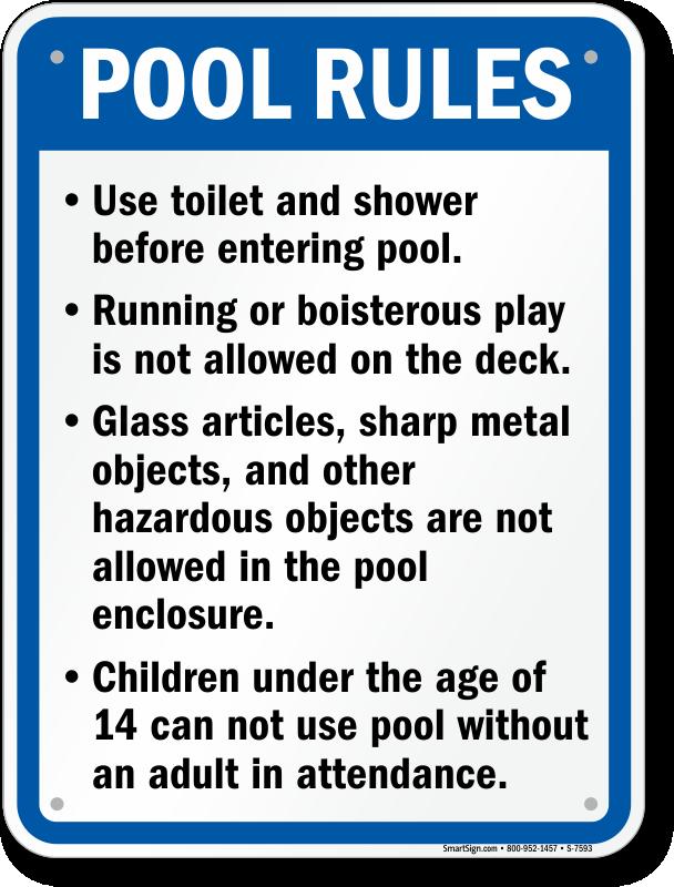 California Swimming Pool Signs