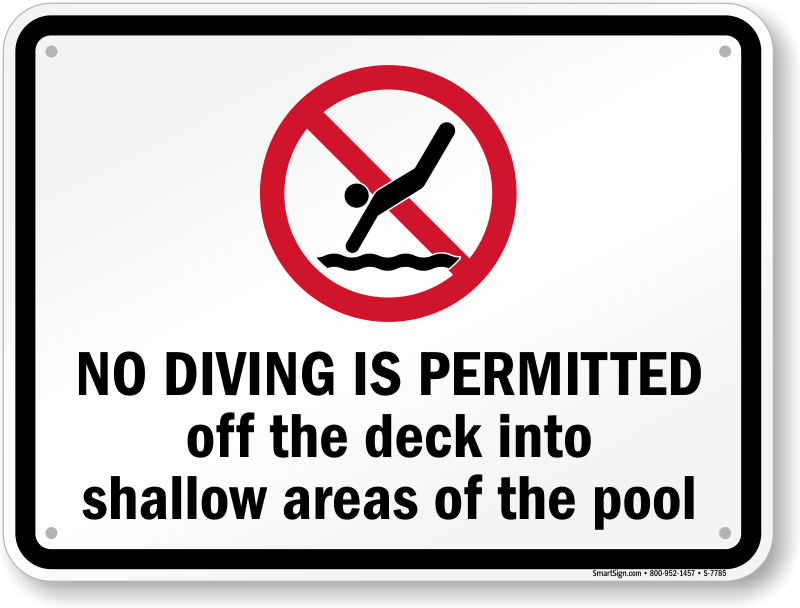 No Diving Signs | Diving Rules Signs