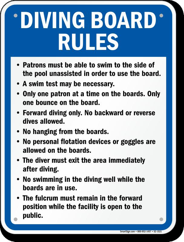 Georgia Diving Board Rules Sign Sku S2 1521