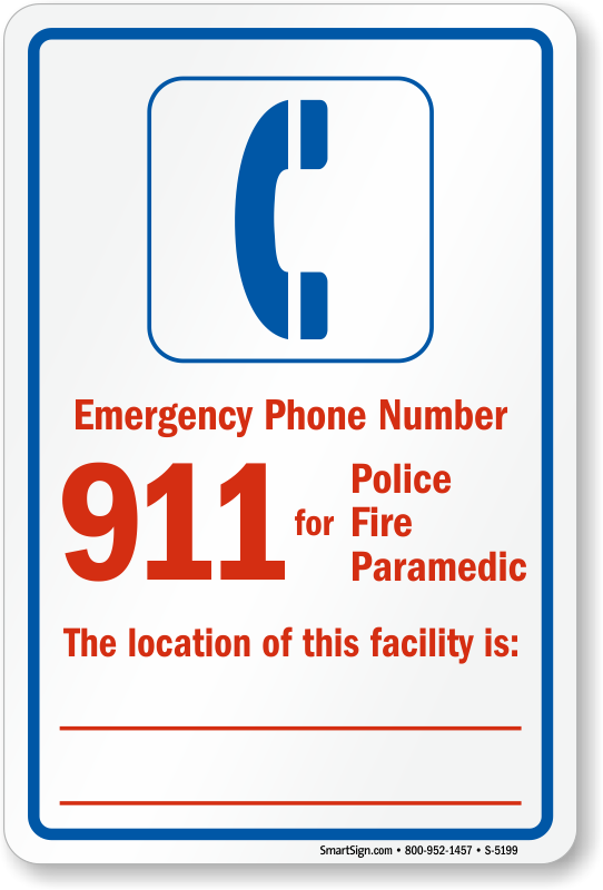 Emergency Phone Number Pool Safety Sign Sku S 5199
