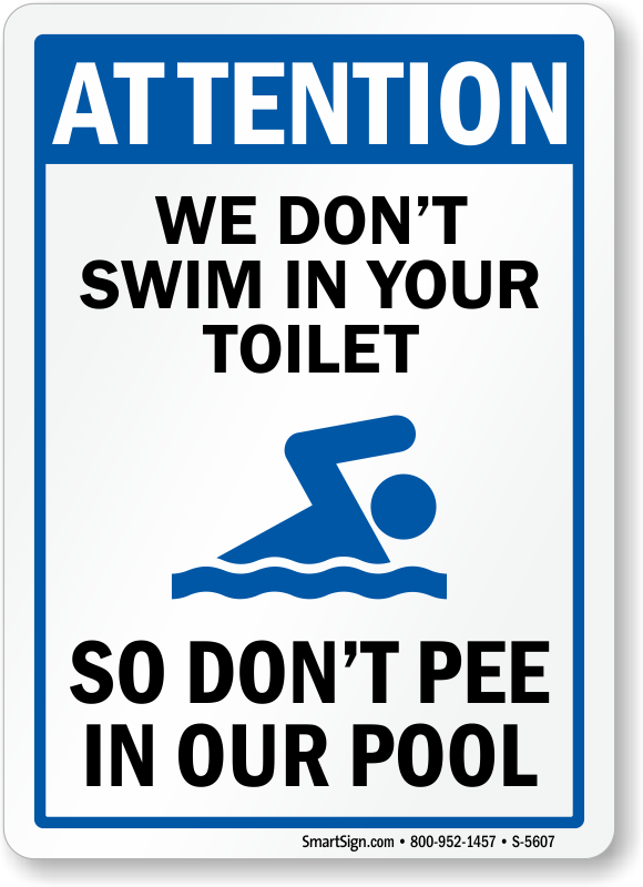 pool sign no peeing in pool