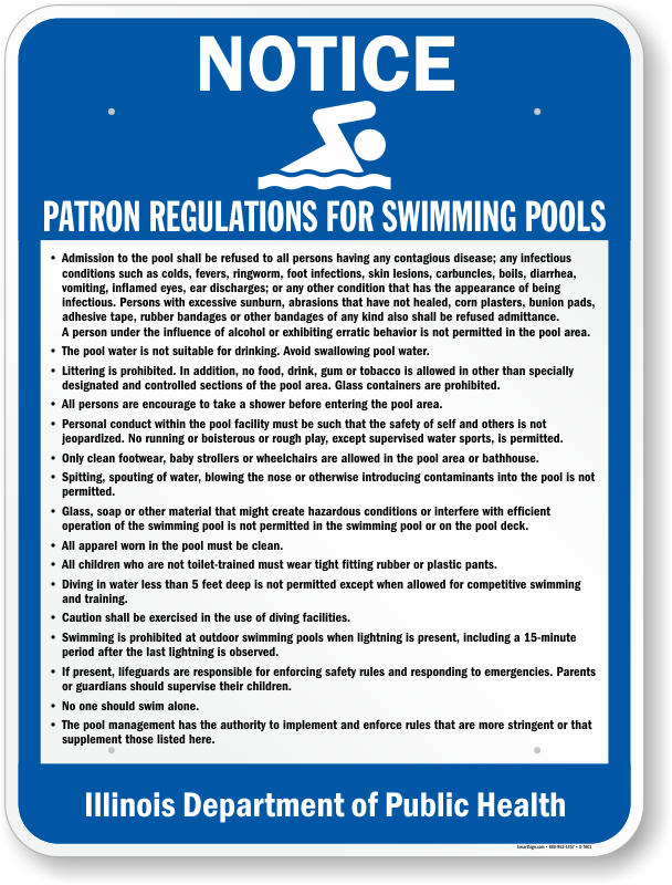 Illinois Swimming Pool Signs