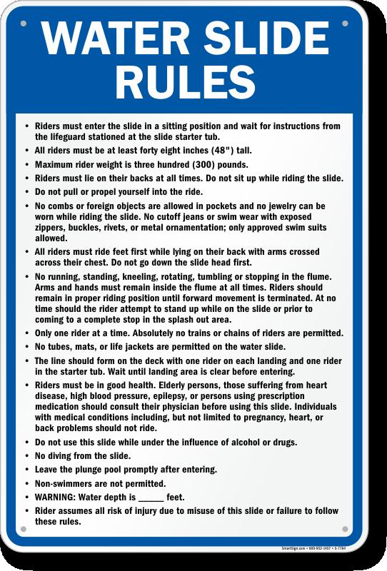 Iowa Water Slide Rules Sign Sku S 7784