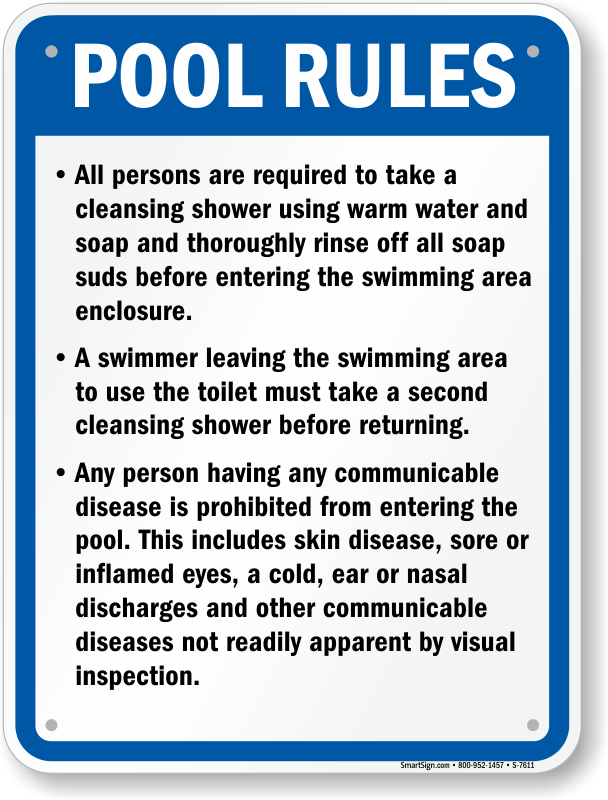 Missouri Pool Rules And Regulations Sign Sku S 7611