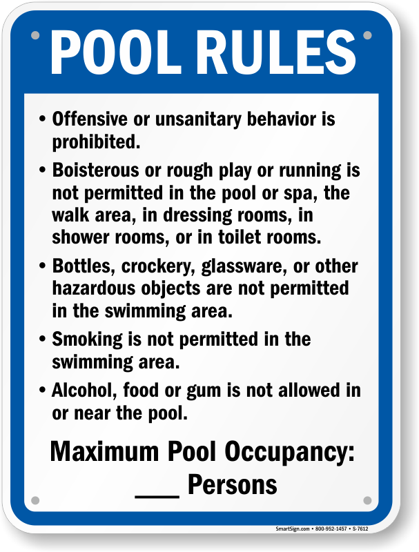 Montana Swimming Pool Rules Signs
