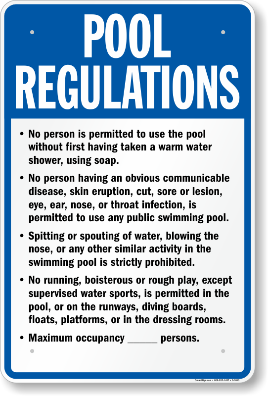 nebraska swimming pool rules signs