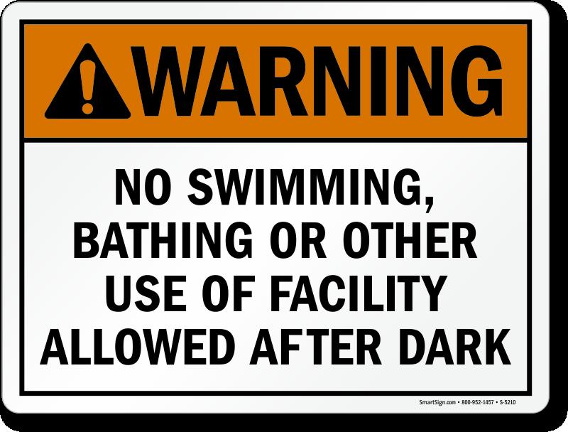 Warning No Swimming, Bathing Allowed After Dark Sign, SKU ...