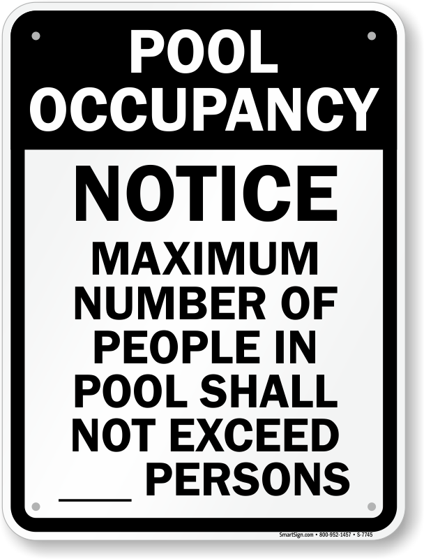Pool Maximum People Occupancy Sign, SKU: S-7745
