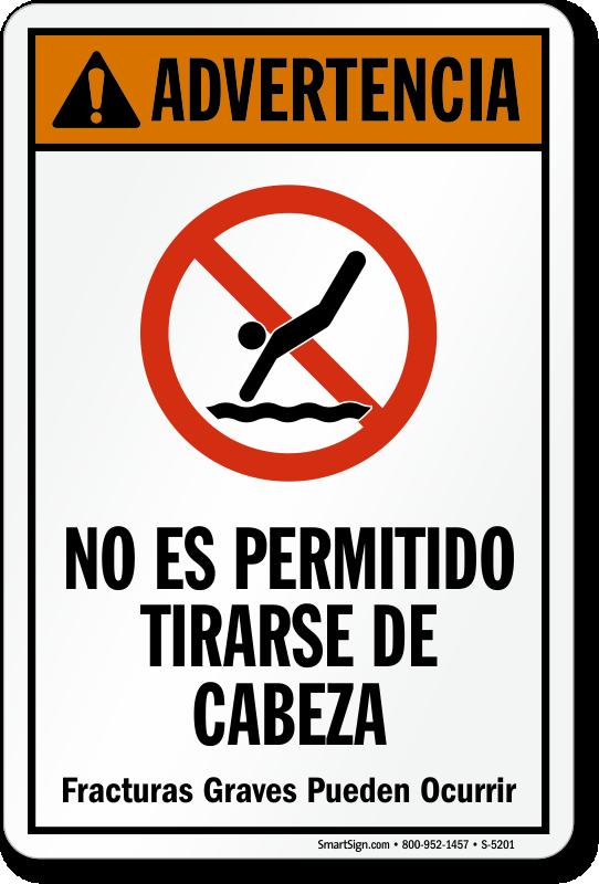 Advertencia no es permitido tirarse de cabeza spanish sign - Swimming pool in spanish language ...