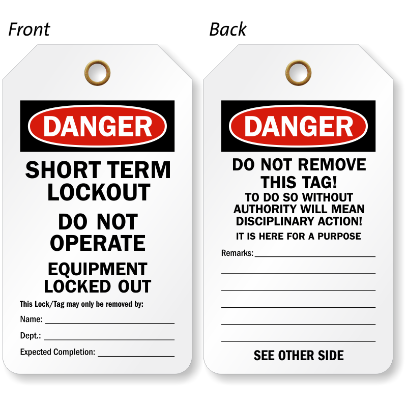 Short Term Lockout Danger Tag Do Not Operate Sku Tg