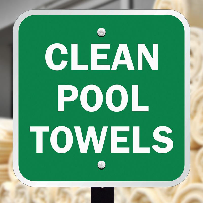 Fitness Center Rules Aluminum Sign Square Shape Free: Clean Pool Towels Sign, SKU: K2-0528