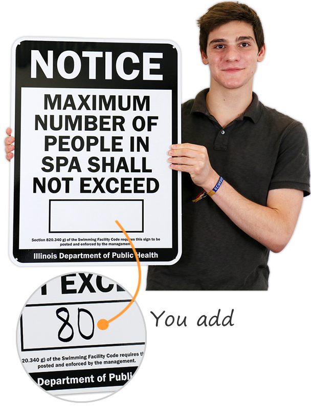 Illinois Maximum Spa Occupancy Sign, SKU: S-7744