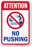 Attention No Pushing Pool Safety Sign