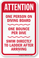 Attention One Person On Diving Board Sign