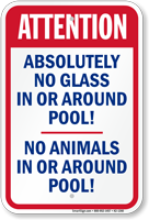 No Glass or Animals Around Pool Sign