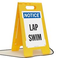 Lap Swim Notice Free-Standing Floor Sign