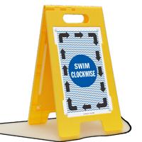 Swim Clockwise Floor Sign