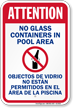 Attention No Glass Containers Pool Sign
