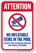 Attention No Inflatable Items Pool Safety Sign