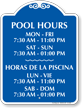 Bilingual Pool Hours for Week Signature Sign