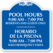 Customizable Bilingual Pool Hours Signature Sign