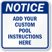 Personalized Pool Instructions Notice Sign