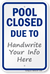 Pool Closed Due To Sign
