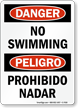 Bilingual Danger No Swimming, Peligro Prohibido Nadar Sign