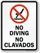 Bilingual No Diving Sign with Symbol