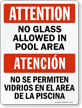 Bilingual No Glass In Pool Area Sign