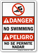 Bilingual No Swimming No Se Permite Nadar Sign