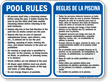 Bilingual Pool Rules, Shower Before Entering Sign