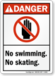 Danger No Swimming Skating Sign